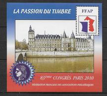 FFAP - 2010 - BLOC Du 83° CONGRES - PARIS - YVERT N°4 ** MNH - FFAP