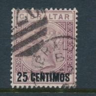 GIBRALTAR, 1889 25c On 2d Purple Fine, SG17, Cat GBP 11 - Gibraltar