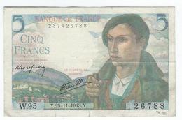 5 Francs Berger Du 25/11/1943 - Légères Traces De Pliure - Coins & Banknotes