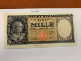 Italy 1.000 Lira  Banknote  1947  #6 - 1000 Lire