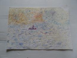 Dessin Marine Peinture Sur Papier Bateau Sur La Mer 26.5 X 19 Cm Signé R. CRIPA  Collé Sur Du Carton Aux Angles - Other Collections