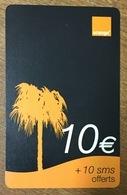 RÉUNION PALMIER RECHARGE GSM ORANGE 10 EURO CARTE À CODE PRÉPAYÉE PHONECARD CARD PREPAID - Réunion