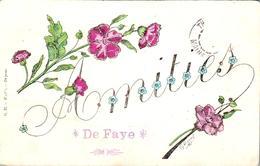 Carte 1905 Signée Harel SOUVENIR AMITIES DE FAYE D'ANJOU (vu Le Tampon) - France