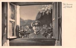 Carte Postale Photo Militaire Allemand Uniforme-Insigne Régiment 2 ème Guerre-39/45-WW 2 -Tenue-Casquette - Guerre 1939-45