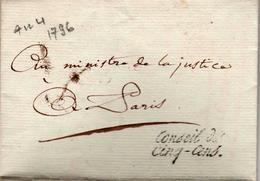 MARQUE POSTALE GRIFFE CONSEIL DES CINQ-CENS (1796 An 4) - 1701-1800: Voorlopers XVIII