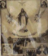 BIBLE FIN 18e PREMIERE DIAPOSITIVE DIAPO PAPIER CALQUE LANTERNE MAGIQUE JE SUIS L'IMMACULEE CONCEPTION ST JOACHIM ANNE - Religion &  Esoterik