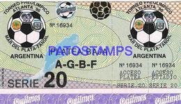 133168 ARGENTINA SPORTS FUTBOL SOCCER TORNEO PREOLIMPICO ATLANTA 96 SERIE 20 PLATEA BAJA ENTRADA TICKET NO POSTCARD - Esgrima