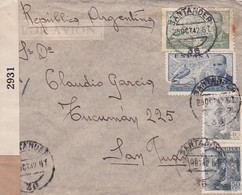 ESPAGNE ENVELOPE CIRCULEE SANTANDER A SAN JUAN, ARGENTINE ANNEE 1942, PAR AVION CENSURE -LILHU - 1931-50 Lettres