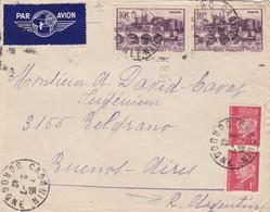 FRANCE ENVELOPE CIRCULEE CADOUIN DORDOGNE A BUENOS AIRES, ARGENTINE ANNEE 1942 PAR AVION  -LILHU - Frankreich