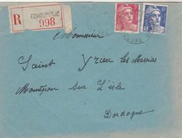 Yvert 716 + 720 Gandon Lettre Recommandée ECHOURGNAC Dordogne  à Montpon Sur L'Isle 28/8/1946 - Postmark Collection (Covers)