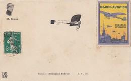 M Simon Sur Monoplan Bleriot Timbre Dijon Aviation - Aviatori