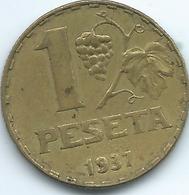 """Spain - Republic - 1 Peseta - 1937 - KM755 - """"La Rubia"""" - [ 2] 1931-1939 : République"""