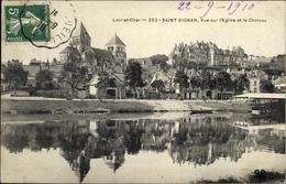 Cp Saint Aignan Loir Et Cher, L'Eglise, Le Chateau - France