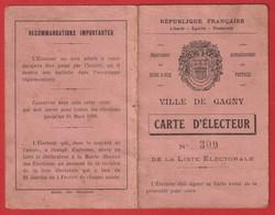 Carte D'électeur  De 1935  1936   Ville De GAGNY - Cartes