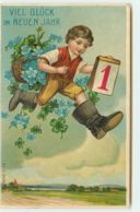 N°14980 - Carte Gaufrée - Viel Glück Im Neuen Jahr - Garçon Avec Des Bottes De Sept Lieues - Neujahr