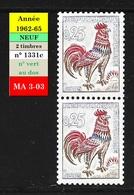Coq De Decaris 1331c ** - Paire De Timbres Neufs De Roulette N° Vert 360 - 1962-65 Cock Of Decaris