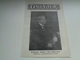"""Origineel Knipsel ( 2280 ) Uit Tijdschrift """" Ons Volk """"  1927 : Professor Emiel Van Dievoet Leuven - Catharina - Lombeek - Vieux Papiers"""