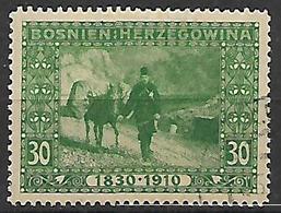 BOSNIA EZERGOVINA 1910 80° GENETLIACO DELL'IMPERATORE D'AUSTRIA UNIF 53  USATO - Bosnie-Herzegovine