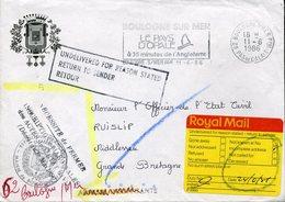 BOULOGNE/MER RUISLIP Grande Bretagne 1986 Griffe UNDELIVERED FOR REASON STATED RETUR TO SENDER Franchise - Marcophilie (Lettres)