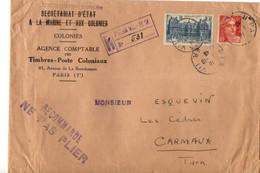 B6  01 10 1946 Lettre Entete  Secretariat D'état à La Marine Et Aux Colonies En Recommandée - Marcophilie (Lettres)