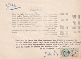 MASLES ORNE RECU DE MR LE COMTE DES PLAS AUX CLAIRETS ANNEE 1935 A MME NOE - France