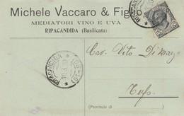 Ripacandida. 1920. Annullo Frazionario ( 51 - 90),  Su Cartolina Postale PUBBLICITARIA... MEDIATORI VINO E UVA ... - 1900-44 Vittorio Emanuele III
