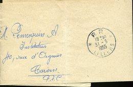 PAS DE CALAIS LILLERS Cachet P.P. LILLERS Du 31 5 1955 Sur Bande Journal - Marcophilie (Lettres)