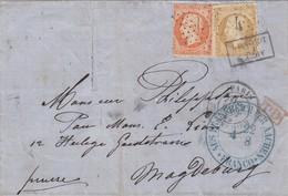 LETTRE. 2 OCT 65. PARIS ETOILE 4. PD. 50c. APRES LE DEPART SUR LE TIMBRE. PER AACHEN POUR MAGDEBURG PRUSSE - 1849-1876: Période Classique