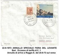 Annullo Speciale FIERA DEL LEVANTE Bari 22 Sett. 1973 Marcofilia 002 - 1971-80: Storia Postale
