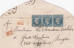 LETTRE. 23 AVRIL 68. BANDE DE 3 N° 22. PARIS MONTROUGE. GC 2523. PD. POUR GROSSWARDEIM HONGRIE VIA WIEN - Marcophilie (Lettres)