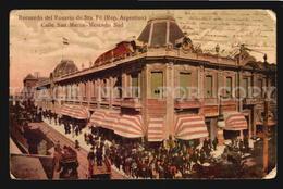 Tarjeta Postal Argentina Rosario De Santa Fe Calle San Martin Mercado W5-1565 - Argentine
