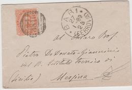 9313. Mini Busta  Bari Istituto Tecnico Di Messina - 1889 - Storia Postale