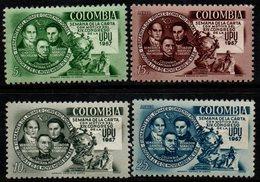 B030C - KOLUMBIEN -1957 - MNH - MI#: 818-821- XIV CONGRESS UPU - Colombia