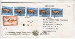 1990 OMAN TO PAKISTAN REGD COVER WITH COSTUME AND MARINE LIFE STAMPS SUR REGD TAG - Oman