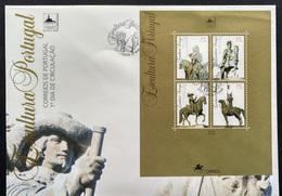 """POR*3635-Portugal FDCB 161 With Block Of 4 Stamps - """"Escultura Portuguesa-Lubrapex 95"""" - 1995 - FDC"""