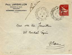 "1937-lettre De Tebessa  Oblit.  Convoyeur De Ligne  "" Constantine A Bordj Bou-Arreridj "" - Briefe U. Dokumente"