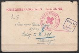"""LAC Datée 3-8-1940 De Châtelineau - Griffe """"KRIEGSGEFANGENEN SENDUNG"""" - Cachet """"Croix-Rouge De CHARLEROI"""" Pour Prisonnie - Weltkrieg 1914-18"""