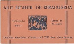"1937 BENEFICENCIA CARNET COMPLETO ""AJUT INFANTIL DE RERAGUARDA"". RARO - Viñetas De La Guerra Civil"