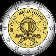 Malta 2014    2 Euro Commemo   200 Jaar -année Police Force  UNC Uit De Rol - UNC Du Rouleaux !! - Malta