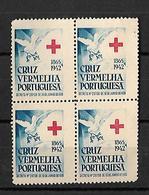 CRUZ VERMELHA PORTUGUESA AN 1942 CROIX ROUGE MNH Block Of 4 Colour Variety - Franchise
