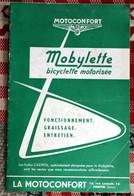 Catalogue Motoconfort Mobylette Bicyclette Motorisée Fonctionnement Graissage Entretien 1958 - Old Paper