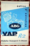 Notice D'entretien Moteur ABG VAP Pi 2  Pédalier Incorpoté 2 Vitesses Courbevoie - Vieux Papiers