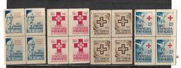CRUZ VERMELHA PORTUGUESA AN 1942 CROIX ROUGE COMPLETE SET MNH 4 Block Of 4 - Franchise
