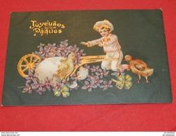 """FANTAISIES  - PÂQUES  -   """" Joyeuses Pâques """" -  Enfants Et Poussins - (carte Gaufrée)  -   1906 - Pâques"""
