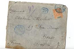 B6 02 05 1904 Lettre Recommandée Madagascar Cachet Bleu Majunga   Timbre Abimé    Pour Brest - Madagascar (1889-1960)