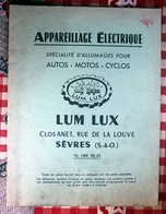 Appareillage Electrique Autos Motos Cyclos   LUM LUX  Sèvres  Couverture Verte - Old Paper