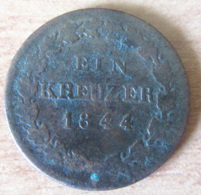 Etats Allemands - Monnaie 1 Kreuzer NASSAU 1844 - [ 1] …-1871 : Etats Allemands