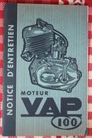 Notice D'entretien Moteur ABG VAP 100  Paris - Old Paper