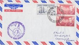 Polaire Néozélandais, N° 5, 6 X 2 Obl. Scott-Base Le 25 NO 67 Pour Le Danemark + Cachet Antarctic-Research - Dépendance De Ross (Nouvelle Zélande)