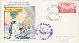 Polaire Néozélandais, N° 6 Sur Env. FDC (manchot, Traineau) Obl. Scott-Base Le 16 OC 69 Pour Ackland + Cachet Vanda Stn. - Dépendance De Ross (Nouvelle Zélande)